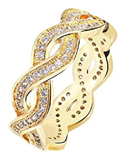 Womens Wedding Bands Gold Plated Gold Hollow Colored Ribbon Rhinestone Inlay Size 6 by Aienid