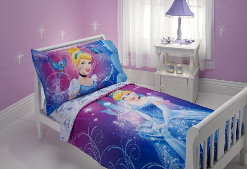 Disney Cinderella Magic Happens 4 Piece Toddler Bedding Set (Discontinued by Manufacturer)