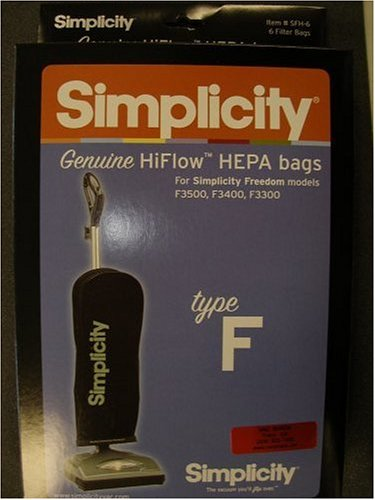 Simplicity Freedom Vacuum Cleaner Type F HiFlow HEPA Filtration Bags For Simp...