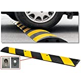 "Tapco 1485-00031 Rubber Speed Bump with 4 Lag Bolts, 6' Length x 12-1/4"" Width x 2-1/4"" Height, Black/Yellow Diagonal Stripes, For Concrete Installation"