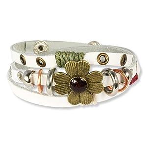 SilberDream Bracelet de Cuir avec fermeture à pression Couleur blanc avec fleur s'adapte à tous les circonférences de bras pour les femmes LA2913W
