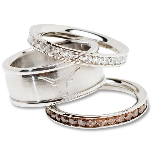 University of Texas Logo Crystal Stacked Ring Set (Size 8)