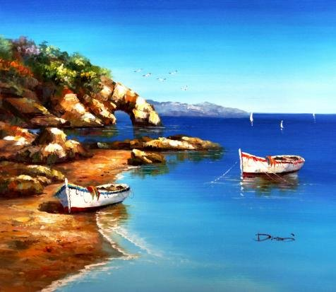 The Perfect effect Canvas of oil painting 'Decorative Landscape Painting of Boats' ,size: 30x35 inch / 76x88 cm ,this High quality Art Decorative Canvas Prints is fit for Basement decoration and Home decoration and Gifts