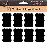 Fancy Rectangle Mini Chalkboard Labels Set of 40 - Reusable Blackboard Stickers for the Kitchen, Pantry, Wine Glasses, Mason Jars and More