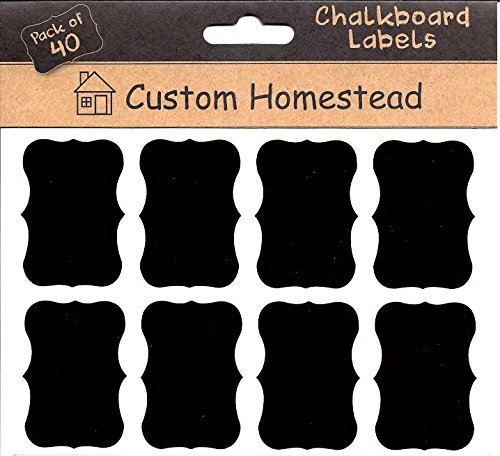 Fancy Rectangle Mini Chalkboard Labels Set of 40 - Reusable Blackboard Stickers for the Kitchen, Pantry, Wine Glasses, Mason Jars and More - 1