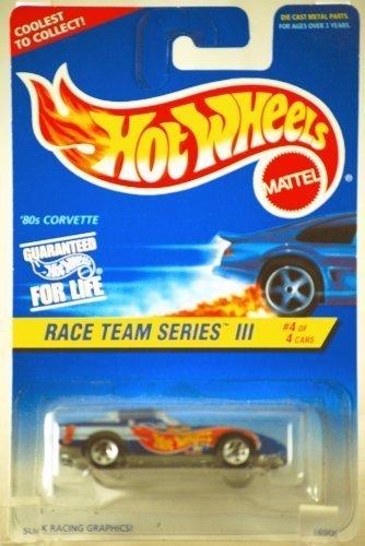 Mattel Hot Wheels #536 - 1997 Race Team Series III 1:64 Scale Blue 80's Chevy Corvette Die Cast Car 4/4 - 1
