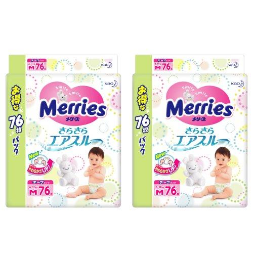 【ケース販売】 メリーズ さらさらエアスルー Mサイズ [6~11kg] 152枚 (76枚×2)