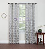 """HLC.ME Geo Thermal Insulated Blackout Grommet Top Window Curtain Grommet Panels - Pair - 84"""" Inch Long (Blue)"""