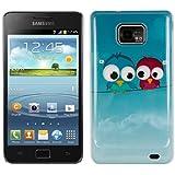 kwmobile® Hardcase Vogel Design für Samsung Galaxy S2 i9100 / S2 PLUS i9105 in Hellblau Rot