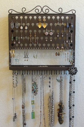 (AAV-Chateau Brown) Angelynn's Vintage Styled Accessory Angel - Pierced Earring Holder & Jewelry Organizer - Hanging Necklace Storage Rack - Wall Mount Earring Tree Display Stand