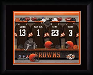 NFL Personalized Locker Room Print Black Frame Customized Cleveland Browns by You