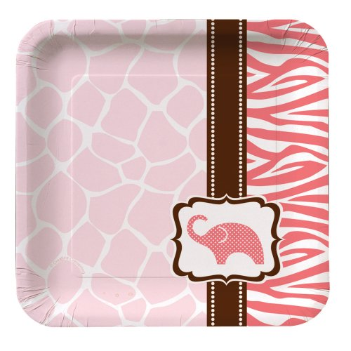 Creative Converting Baby Shower Wild Safari Pink 8 Count Paper Lunch Plates