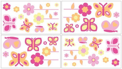 Butterfly Pink And Orange Wall Decal Stickers By Sweet Jojo Designs - Set Of 4 Sheets front-224068