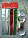 100 Christmas Xmas Foil Paper Chains Decorations Silver Gold Red & Green