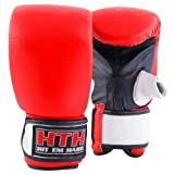 Maxstrength MMA Real Leather Pro Bag Gloves Focus Punch Mitts Boxing - Red/Black/White, Large/X-Large