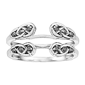 Sterling Silver Infinity Celtic Ring Guard Enhancer set with Black Cubic Zirconia (0.24 Ct. Twt.)
