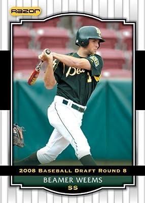 2008 Razor Signature Series WHITE Baseball Card # 100 Beamer Weems (Prospect - RC - Rookie Card) San Diego Padres - MLB Baseball Trading Card