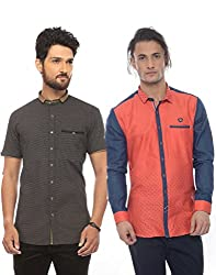 Apris Mens Casual Combo Shirts-BLACK-RED (S-3306-3321) (2XL)
