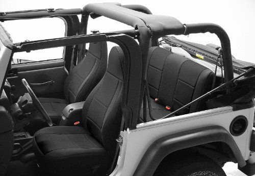 1993 Jeep Wrangler YJ Coverking CR-Grade Neoprene Seat Covers Solid Black - Full Set - Front and Rear Row - Reclining Front Seats