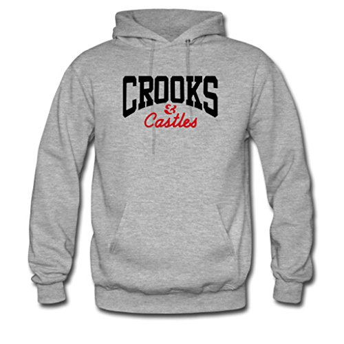 Soothing Men's and Women's Unisex Custom Crooks and Castles Classic Hoodie L Grey