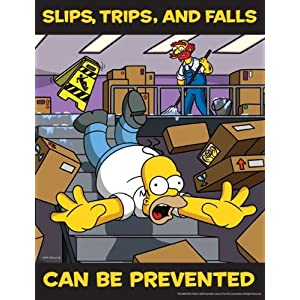 Simpsons Slips Trips and Falls Safety Poster - Slips, Trips and Falls