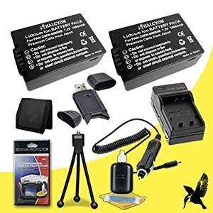 Two Halcyon 1500 mAH Lithium Ion Replacement Panasonic DMW-BMB9 Battery and Charger Kit + Memory Card Wallet + SDHC Card USB Reader + Deluxe Starter Kit for Panasonic Lumix DMC-FZ70 Digital Camera and Panasonic DMW-BMB9