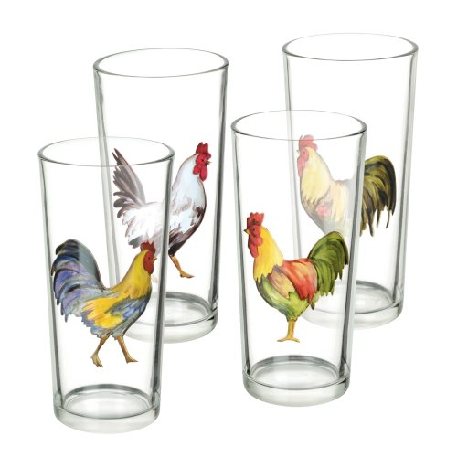 Grasslands Road Rooster Juice Glasses, Set Of 8