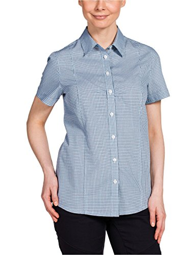 Jack Wolfskin Damen Bluse Palmerston OC Shirt, Air Blue Checks, XXL, 1401611-7557006