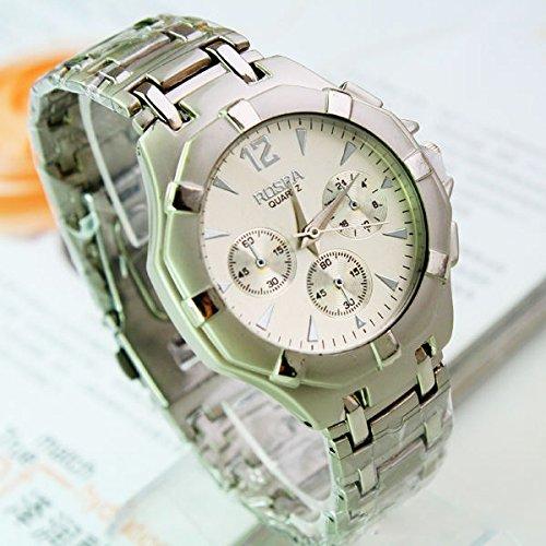 kreative Männer drei Augen Edelstahlband Quarz Uhren Armbanduhr runden weißen Zifferblatt Männer Werbegeschenk Uhren Armbanduhr