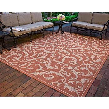 Safavieh Courtyard Collection CY2653-3202 Terracotta and Natural Indoor/ Outdoor Area Rug (4 x 57