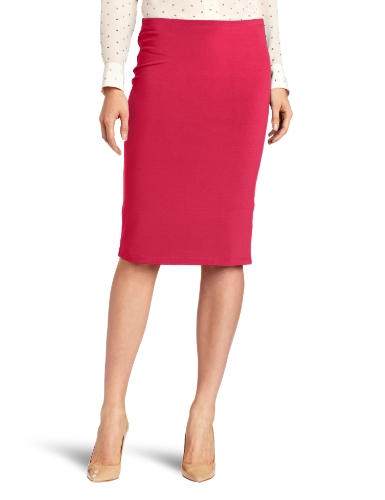 Three Dots Red Women's Double Pencil Skirt, Wild Raspberry, Small