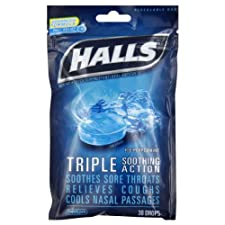 Halls Triple Soothing Cough Drops Ice Blue 30 Ct.