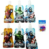 6-pack Marvel Avengers Collapsible Foldable Water Bottles (12 Oz) and 12-pack Summer Shaped Silicone Bracelets - BPA Free - Marvel Heroes Party Favors for Kids and Marvel Heroes Party Supplies for Kids - Included Are 2 Captain America Water Bottles, 2 Incredible Hulk Water Bottles, and 2 Iron Man Water Bottles