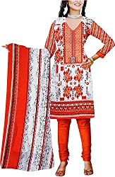 Majaajan Women's Cotton Self Print Unstitched Salwar Suit Dress Material (BNSL0667ORG, Orange, Freesize)