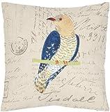 Safavieh Set of 2 Regal Parrot Embroidered Decorative Pillows, Blue/Cr Å¡me, 18 x 18