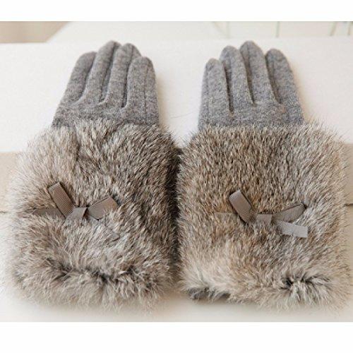 KHSKX Guanti di lana bowknot peli di coniglio in maglia di lana pelliccia nell'inverno guanti caldi donne,grigio