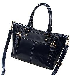 SHENGXILU Women\'s PU Leather Handbag Dark Blue