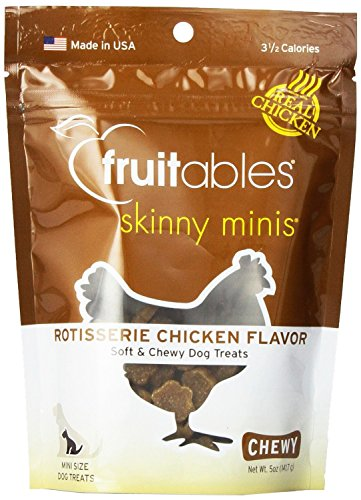 Fruitables Skinny Minis Chewy Dog Treats in Rotisserie Chicken Flavor, 12 X 5oz (12 Bags)