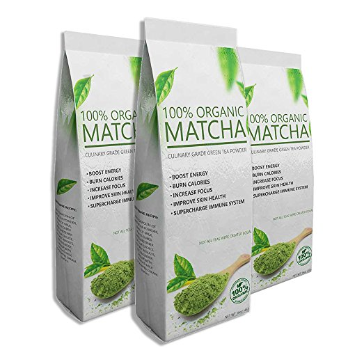 Deluxe Matcha (3 x 16oz) - Premium Quality Green Tea Powder - 100% Organic - Perfect for Beverages, Cakes and Culinary Delights, Grade A (Honey Delight Tomato Seeds compare prices)
