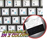 NETBOOK RUSSIAN CYRILLIC ENGLISH KEYBOARD STICKERS WHITE BACKGROUND