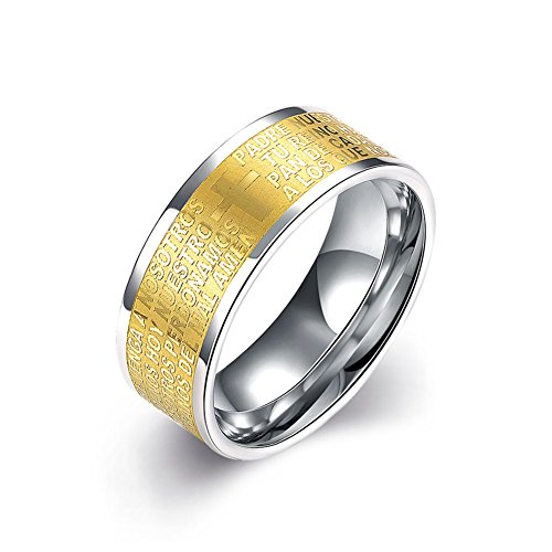 Men's Titanium Ring Wedding Band Stainless Steel Rings Gold-Plated Matte Finish Sizes 7 to 10 (7) (Custom Costumes In Edmonton)
