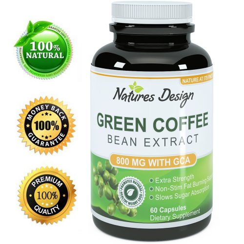 Natures Design Pure Green Coffee Bean Extract - Highest Grade & Quality Antioxidant GCA (Standardized to 50% Chlorogenic Acid) for Men & Women (Best Formula) - Burns Both Fat and Sugar As Dr Oz Recommends - Guaranteed By