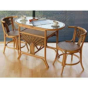 Home & Garden Direct Atlanta Cane Rattan Dining Breakfast Table Chair Set for 2 by Home & Garden Direct