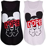 Womens Ladies Girls Black White Dope…