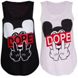 Womens Ladies Girls Black White Dope Mickey Mouse Obey Jersey Vest Top Tshirt