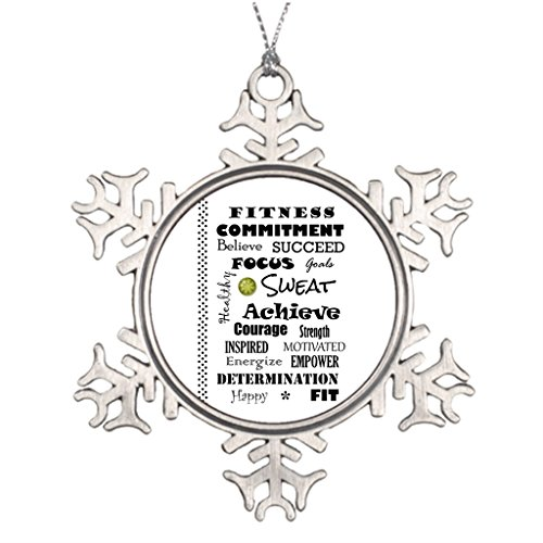 Darlingz Personalized Christmas Snowflake Ornaments Fitness Motivational and Inspirational Fitness Typography Natural Christmas Tree Decorations