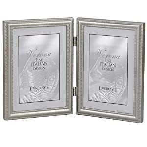 Lawrence Frames Hinged Double (Vertical) Metal Picture Frame Pewter Finish with Delicate Beading, 4 by 6-Inch
