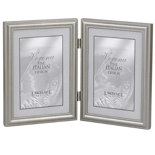 Lawrence Frames Hinged Double (Vertical) Metal Picture Frame Pewter Finish With Delicate Beading, 5 By 7-Inch front-933787
