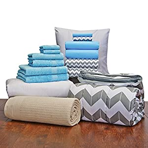 Girls Student Starter Pak - Twin XL Bedding and Bath Set (Color: Aqua and Gray Chevron)