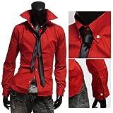 ネクタイ付き ドレスシャツ メンズ ウエストシェイプ ボタンダウンシャツ 日本製 国産 904007 長袖 L 赤